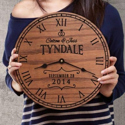 4th anniversary gift idea: personalized wooden clock