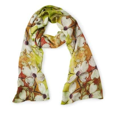 dogwood flower art scarf: floral 4th anniversary gift gift idea for her on