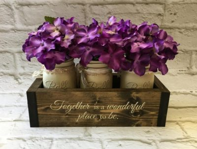 4th anniversary flower gift idea: flower box set made of mason jars