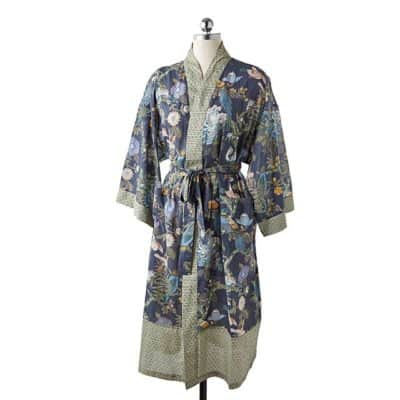 Graceful kimono robe with bird & flower patterns - Floral gift for her on 4th wedding anniversary