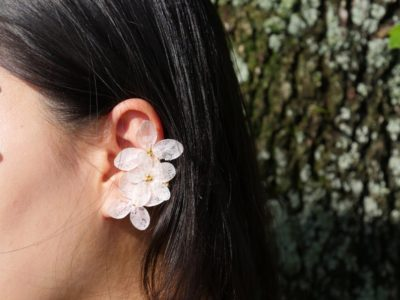 silver earrings made from hydrangeas
