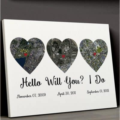linen anniversary gift: hello - will you - i do map wall art canvas print