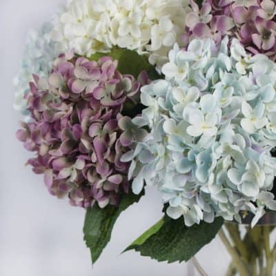 faux hydrangeas made from silk