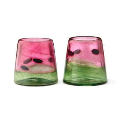 fruits theme 4th anniversary gift idea: hand-blown watermelon tumblers