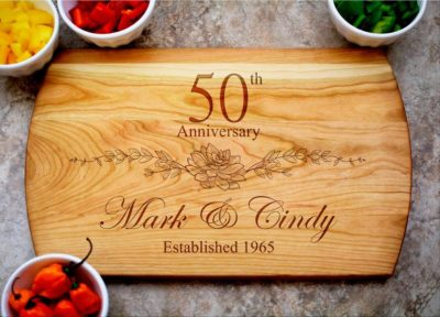 personalized cutting board - gift idea for 50th wedding anniversary