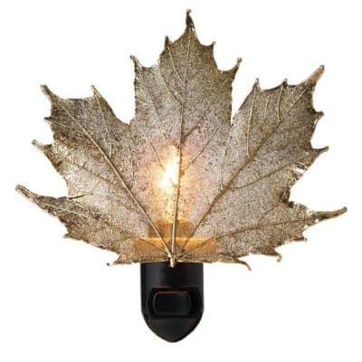 night light with golden maple leaf