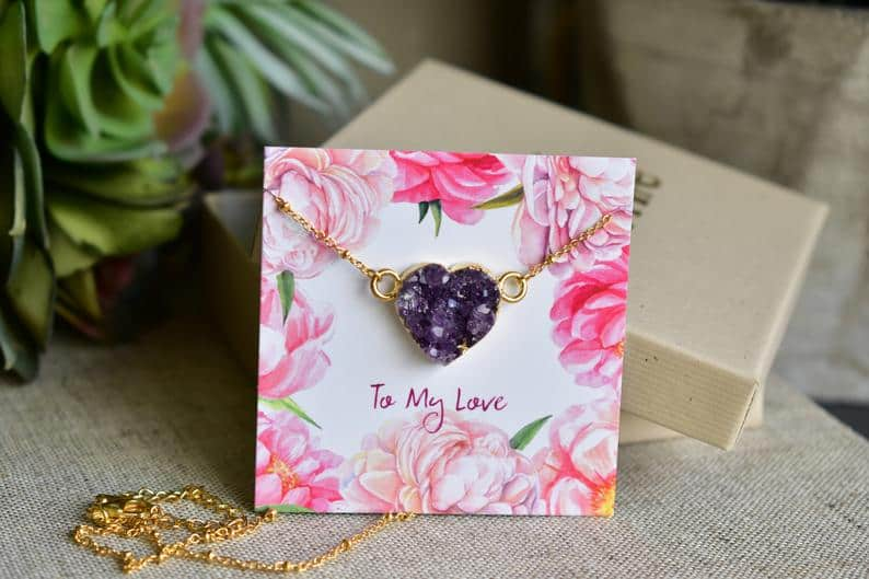 romantic gift for her - amethyst pendant necklace