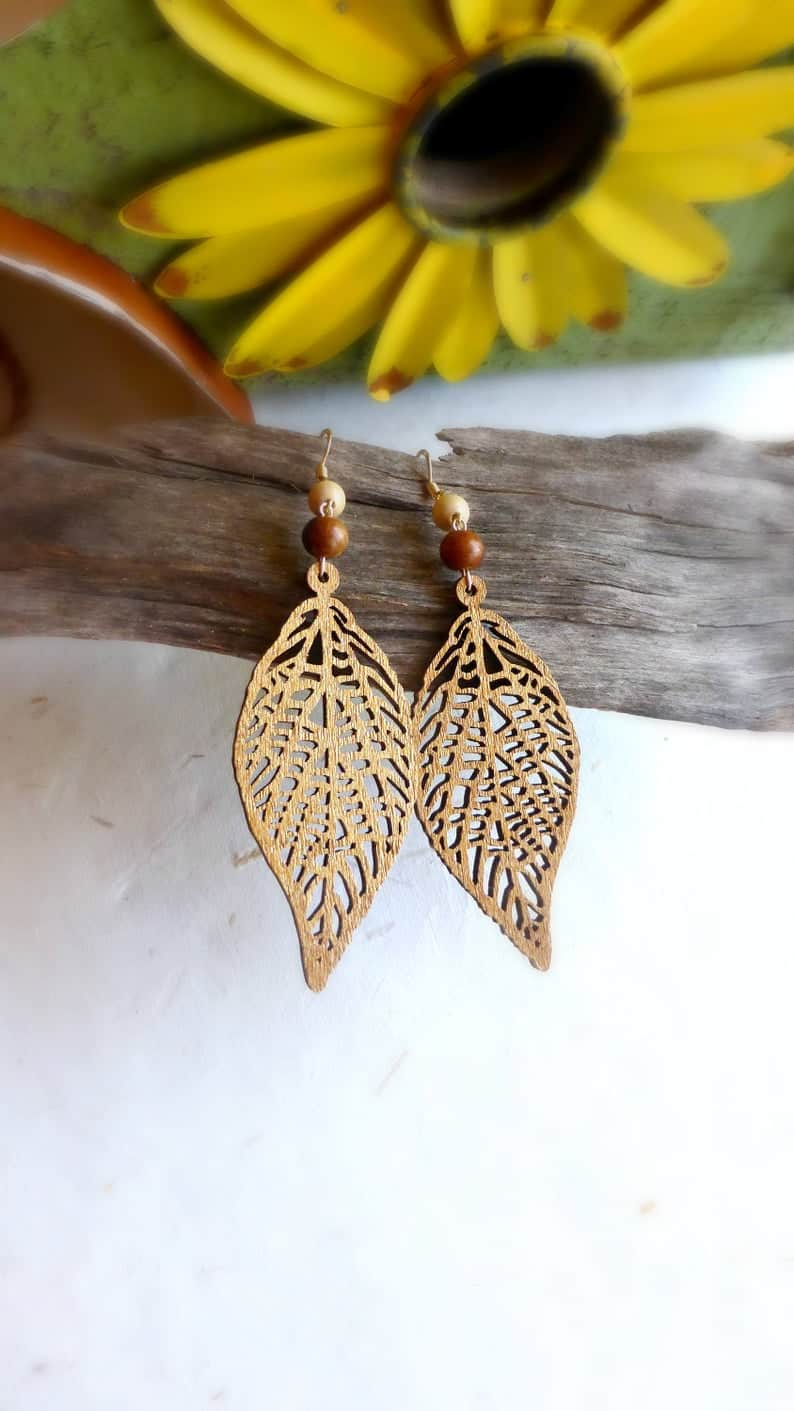 wood anniversary gift idea for her: gold simmer wooden earrings