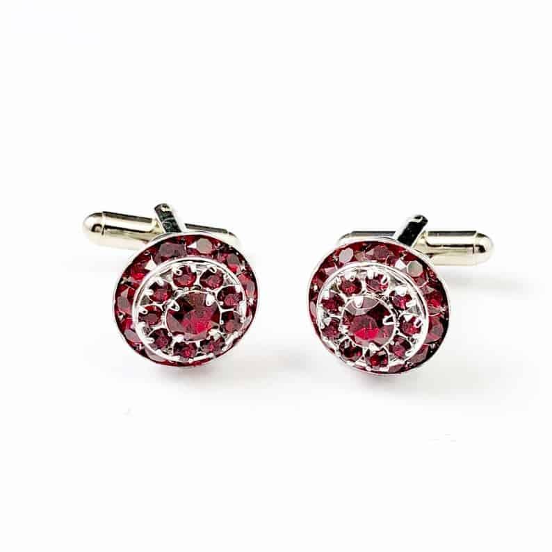 cuff links made of red garnet gemstone