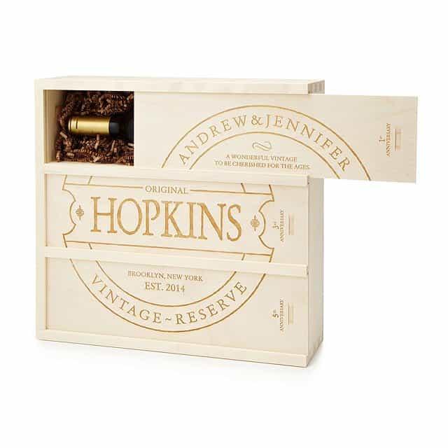 personalized anniversary wood wine box
