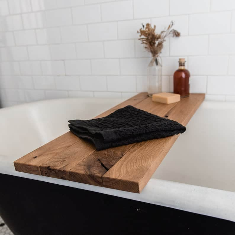 thoughtful gift idea for couples on 6th anniversary: wood bath tray