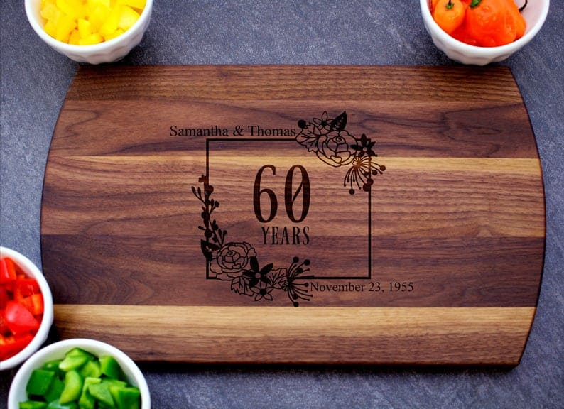 60th wedding anniversary gift ideas for parents - Cutting Board