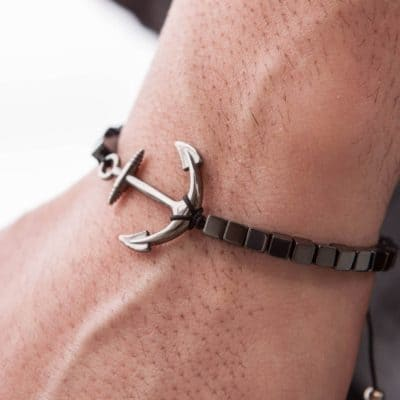 anchor onyx bracelet seven year anniversary gift for men