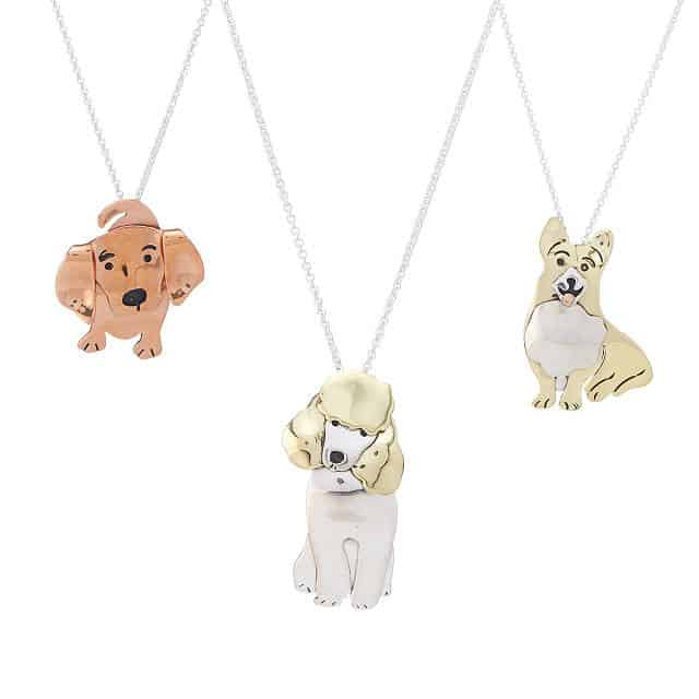 Necklace with cute puppy pendants - cute copper anniversary gift for wife, dog lover