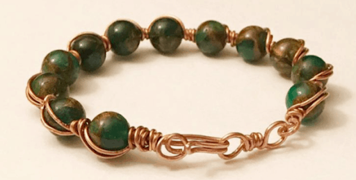 bracelet for women made of jade and copper 7 year anniversary gift idea