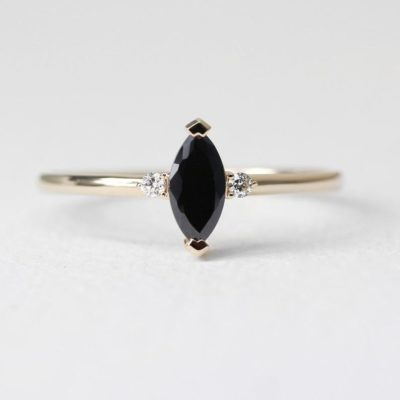 minimalist onyx ring jewelry gift for her on 7th anniversary