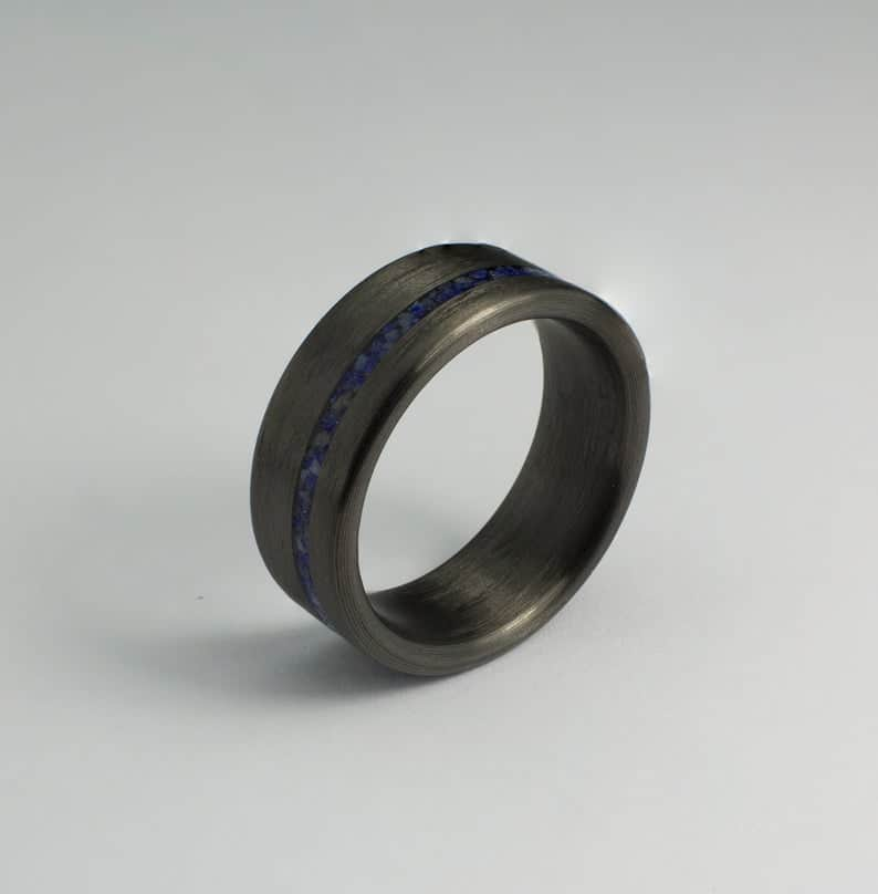 carbon fiber ring with Lapis Lazuli inlay jewelry for men