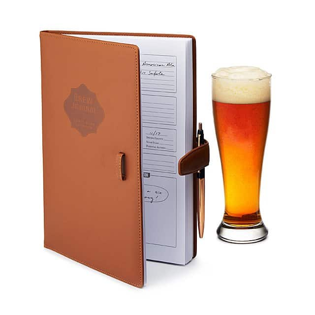 home brew journal with leather cover