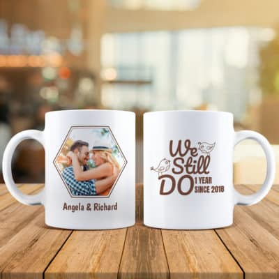 unique 9th anniversary gift idea for couples: we still do custom photo mugs