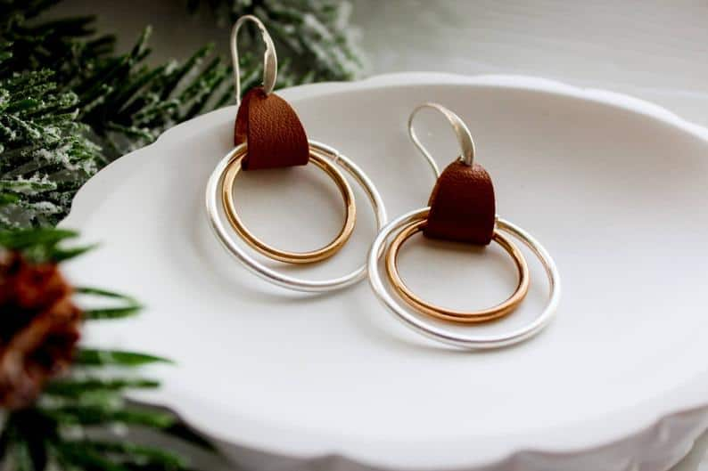 leather accessory gift for her on 9 year anniversary - leather and metal hoop earrings