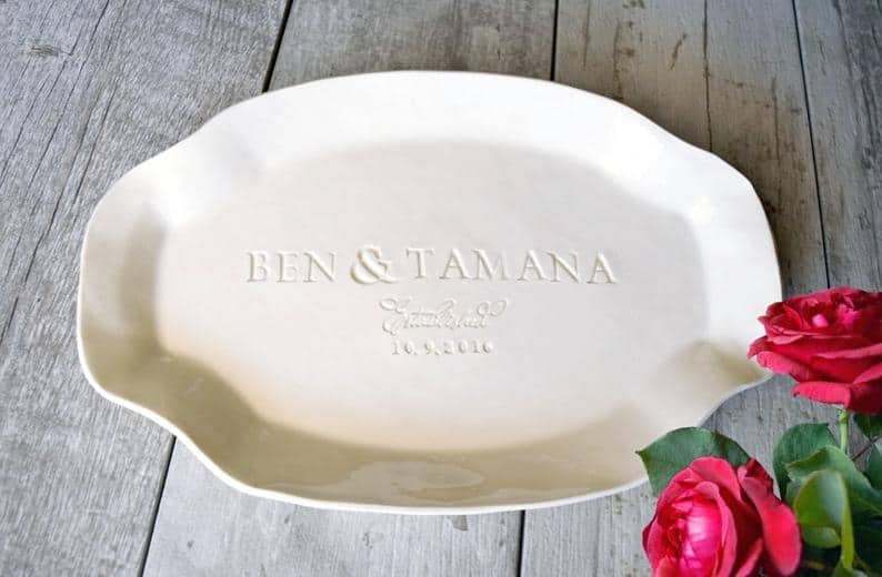 9th anniversary gift idea for couple: personalized ceramic serving platter