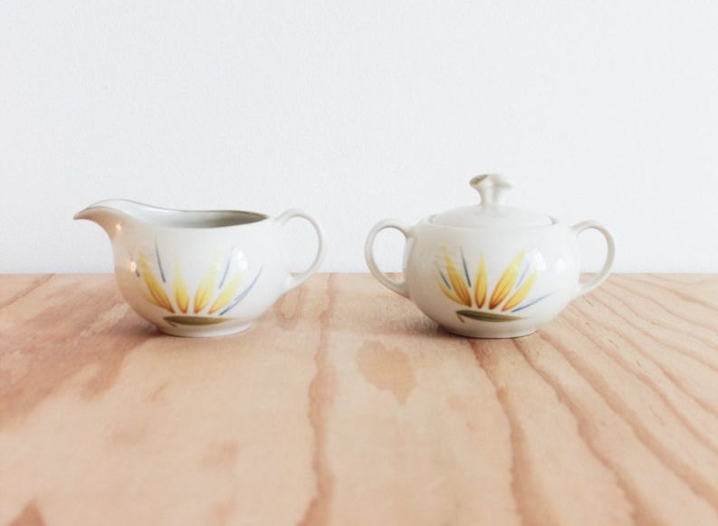 vintage ceramic sugar bowl and creamer set