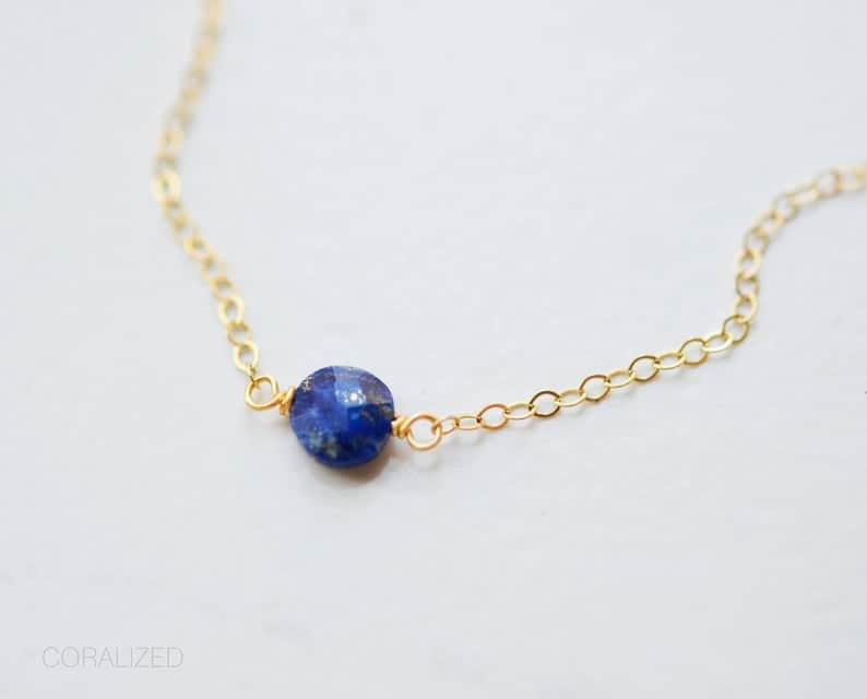 tiny Lapis Lazuli necklace with gold chain
