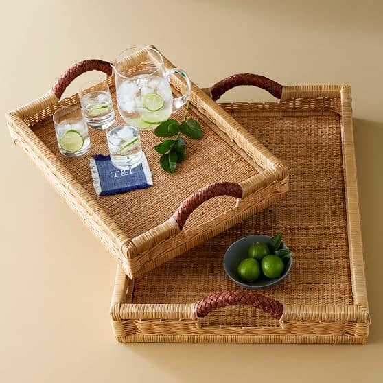 serving tray made of wicker and leather