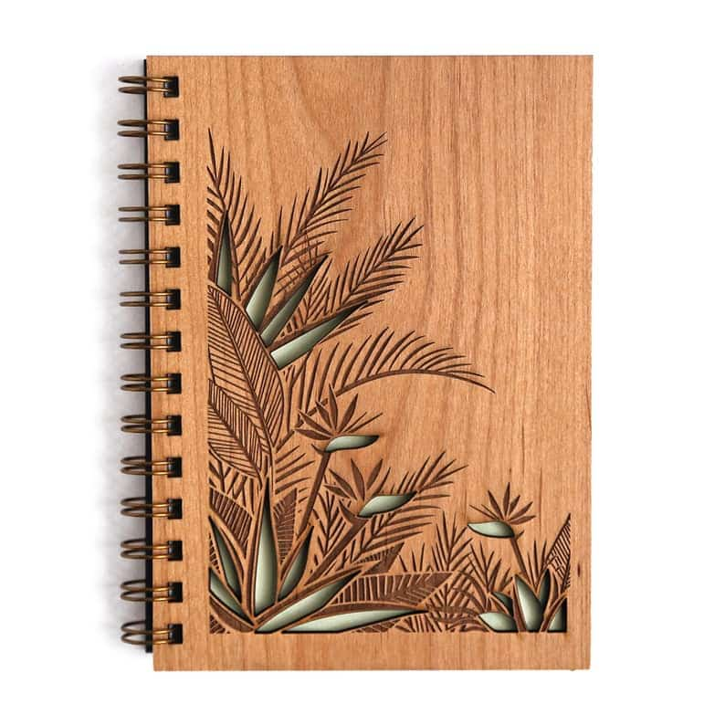 journal with wood cover of bird of paradise flowers