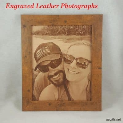 3rd year anniversary gifts for her:Engraved Leather Photo