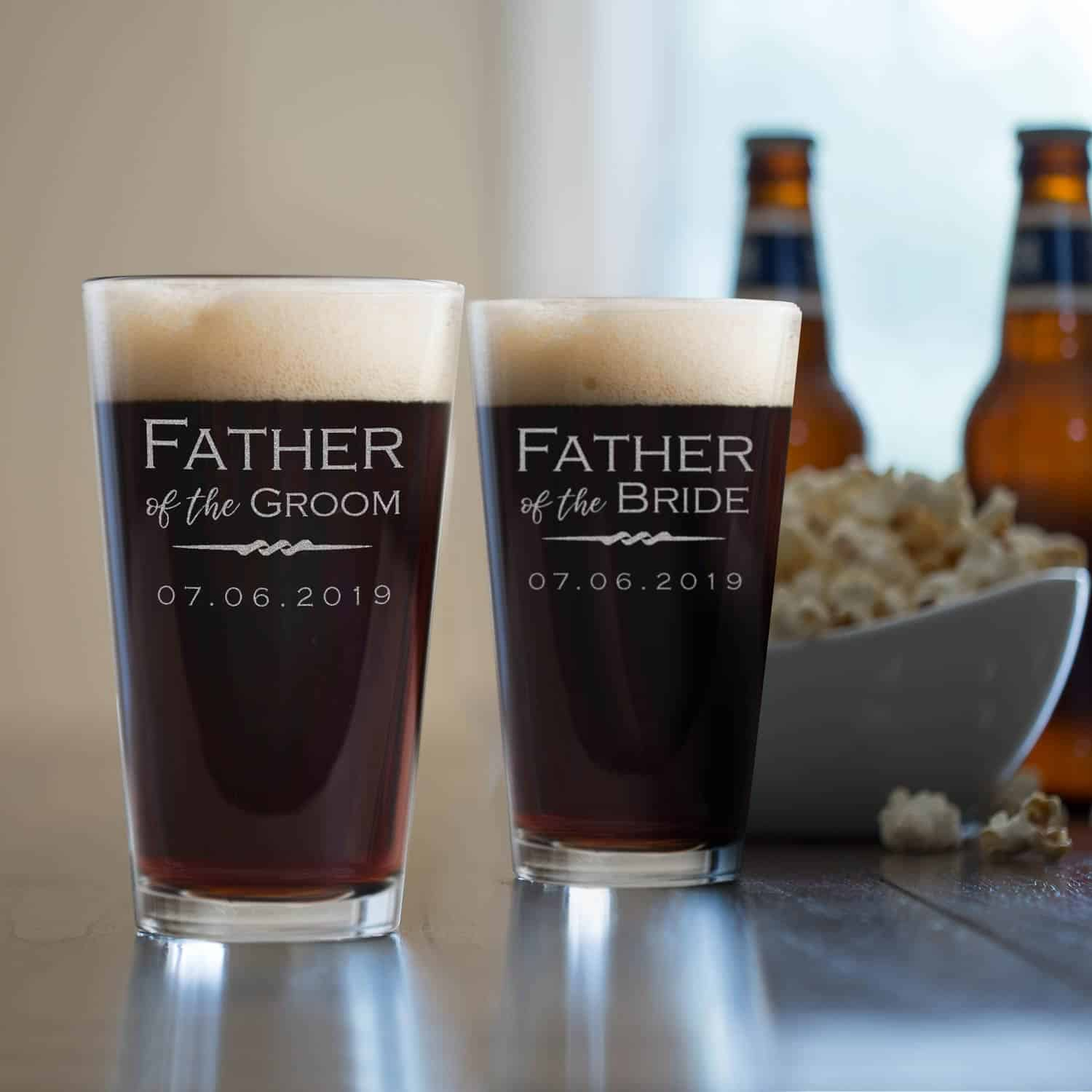 Father of the bride and groom personalized pint glass