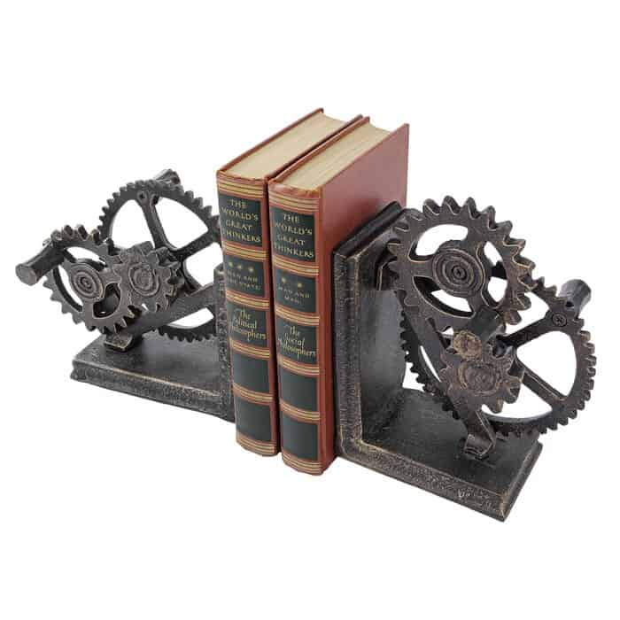 six years anniversary gift for couples: industrial gear iron bookends