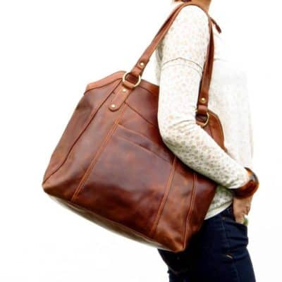 leather gifts for wife:Large Brown Leather Handbag