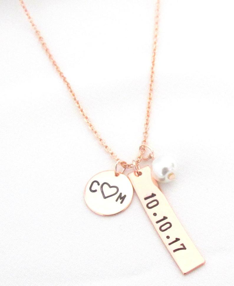 2nd anniversary gifts for her:Hand Stamped Date Necklace