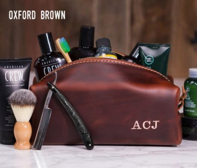 third year anniversary gift for him:Personalized Leather Dopp Kit Bag