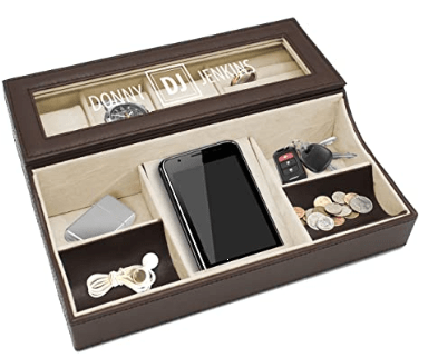 third anniversary gift:Personalized Leather Valet Tray Box