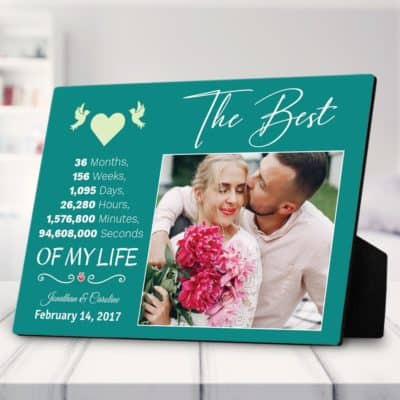 3rd anniversary gift ideas:Personalized Photo Plaque
