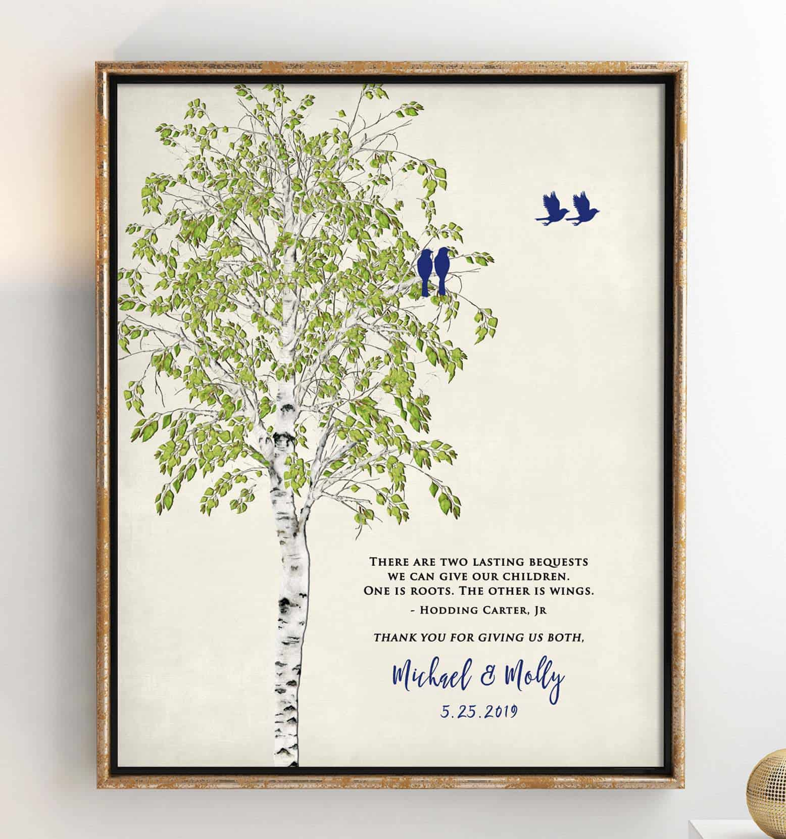 an art print of a tree, some birds and a quote for parents