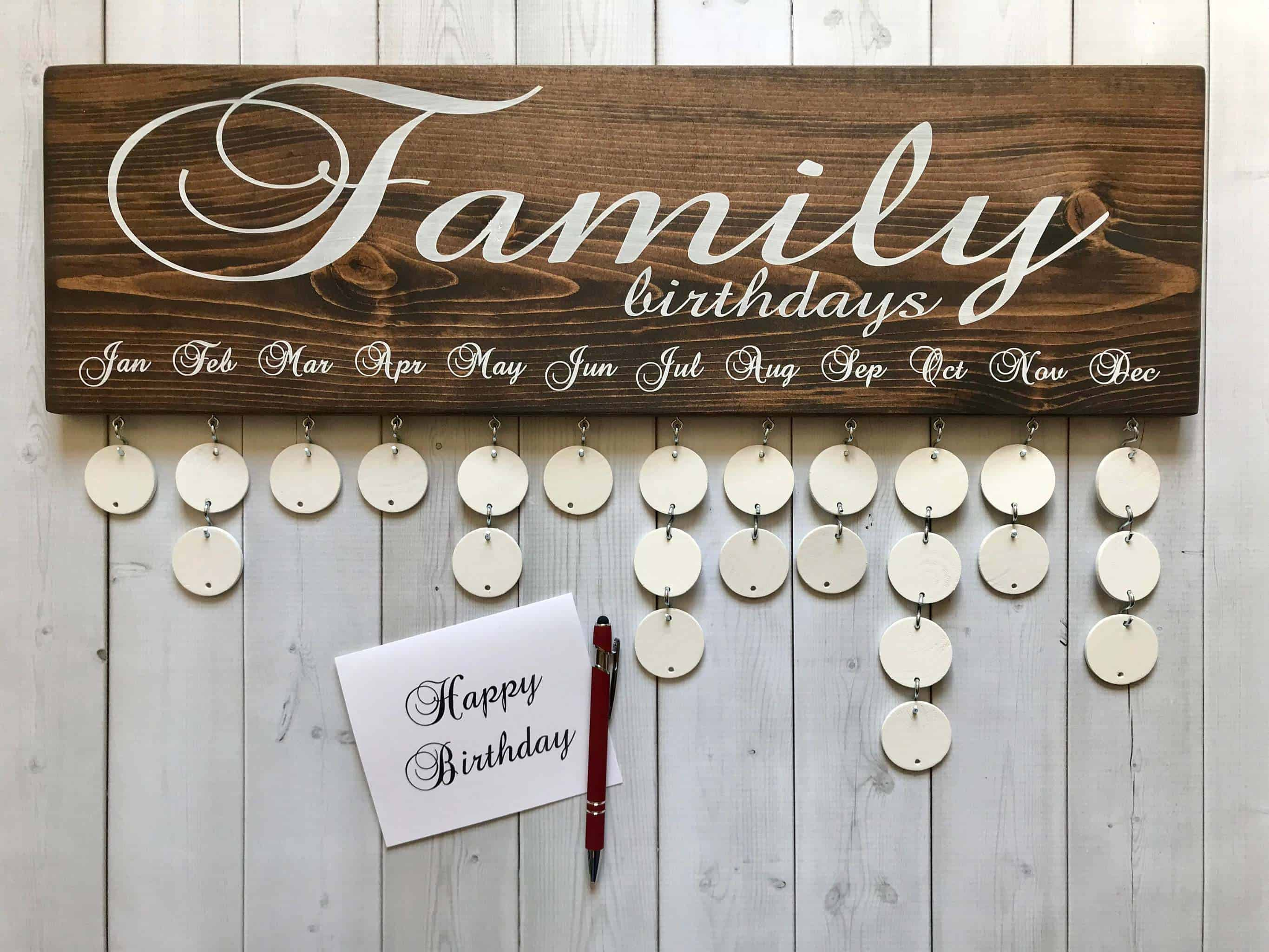 Wedding gifts for parents - family birthday board