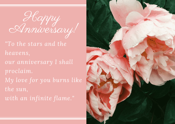 anniversary card with a love poem