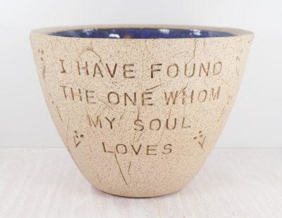 9th anniversary gifts for him: bible quote pottery bowl