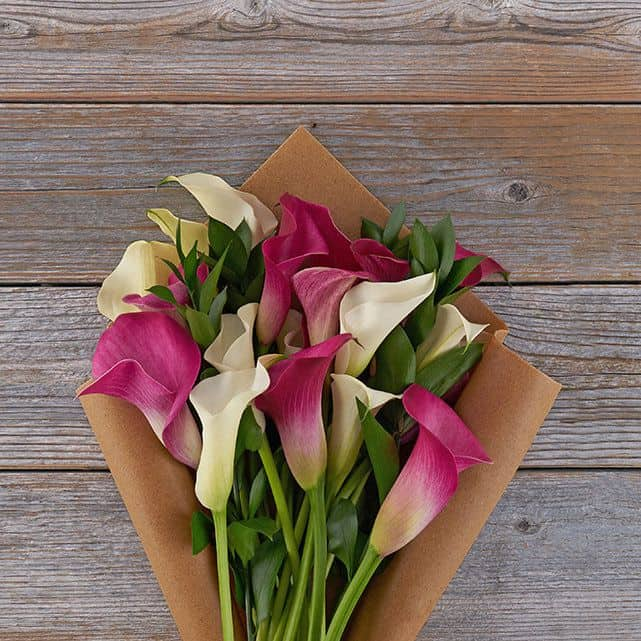 6 year anniversary gift with flower theme: a calla lily bouquet
