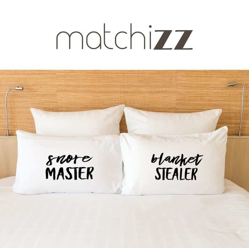 pillowcases - funny christmas gift idea for couples - snore master, blanket stealer pillowcases