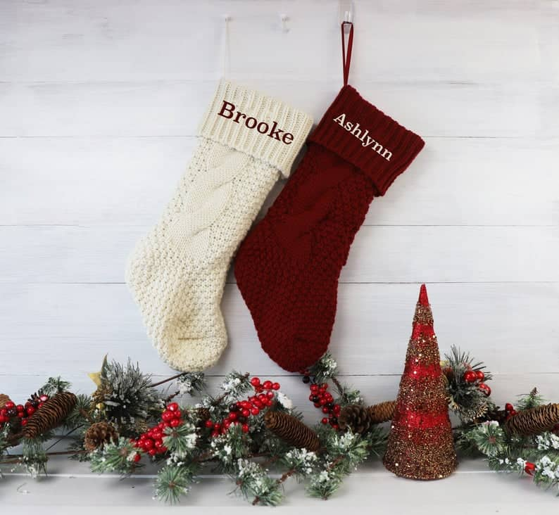 cute christmas gift for couples: personalized knitted christmas stockings