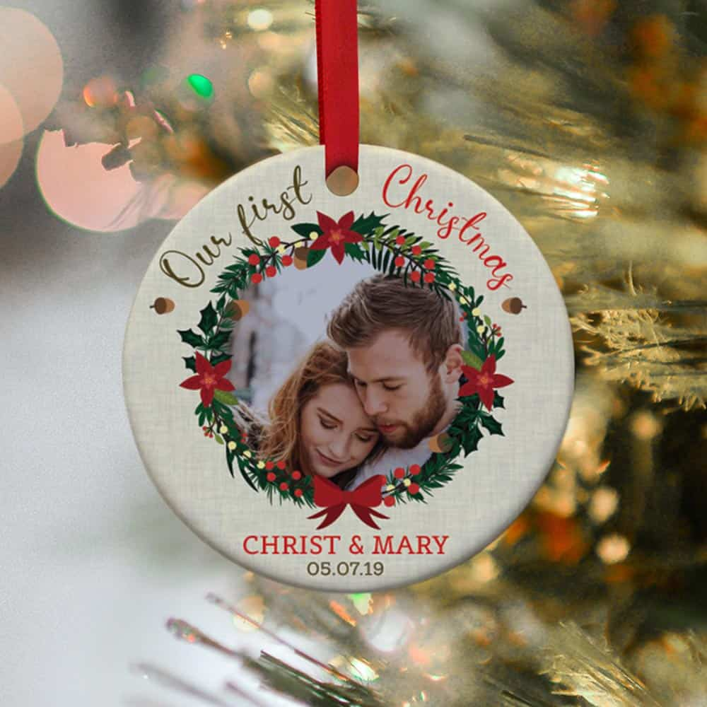 our first christmas personalized photo ornament - lovely christmas gift for married couples
