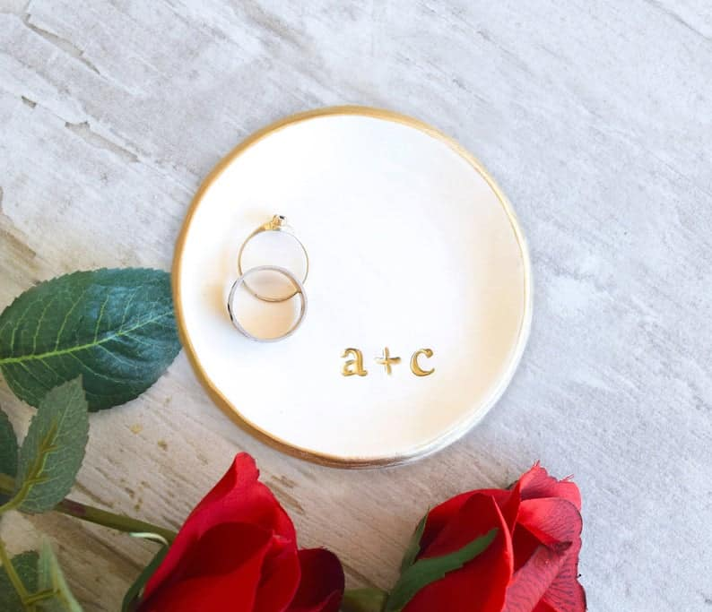 personalized ring dish with first letters of couple's name