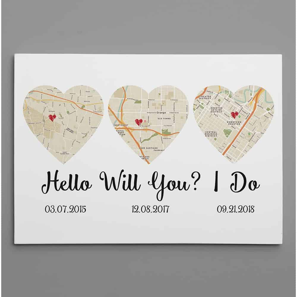 meaningful christmas gift idea for couples: hello - will you - i do custom map art canvas print