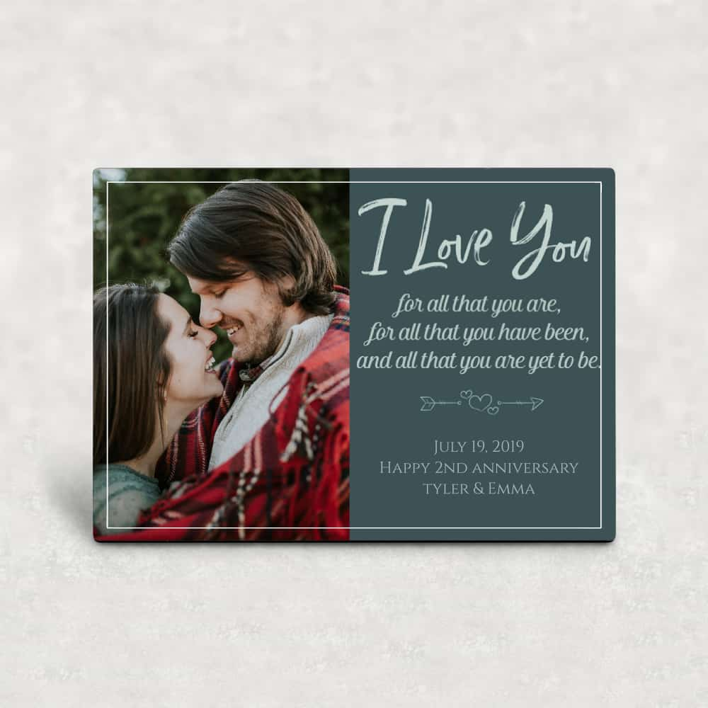 cotton anniversary gift for him - photo desktop plaque