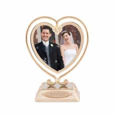 50th wedding anniversary gift for parents: gold dangle frame