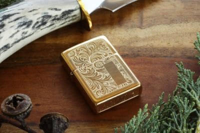 gold 50th anniversary gift for him: engraved gold lighter